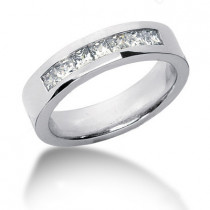 Platinum Diamond Men's Wedding Ring 0.98ct