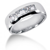 Platinum Diamond Men's Wedding Ring 1.19ct