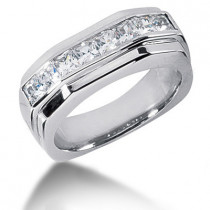 Platinum Diamond Men's Wedding Ring 1.36ct