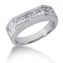 Platinum Diamond Men's Wedding Ring 1.98ct