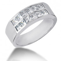 Platinum Diamond Men's Wedding Ring 2.04ct