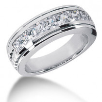 Platinum Diamond Men's Wedding Ring 2.10ct