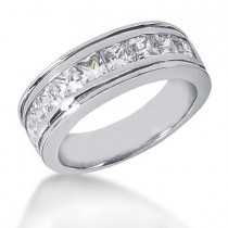 Platinum Diamond Men's Wedding Ring 2.43ct