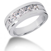 Platinum Diamond Men's Wedding Ring 2ct