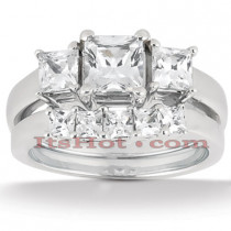 Platinum Diamond Three Stone Engagement Ring Set 1.14ct