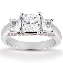 Thin Platinum Diamond Three Stones Engagement Ring 0.25ct