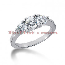 Ultra Thin Platinum Diamond Three Stones Engagement Ring 0.35ct