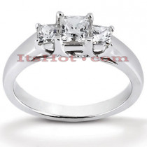 Thin Platinum Diamond Three Stones Engagement Ring 0.43ct