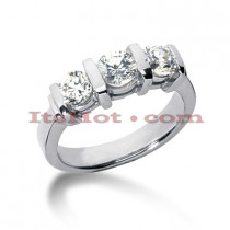 Ultra Thin Platinum Diamond Three Stones Engagement Ring 0.45ct