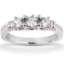 Thin Platinum Diamond Three Stones Engagement Ring 0.45ct