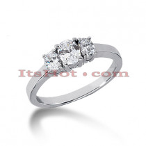 Ultra Thin Platinum Diamond Three Stones Engagement Ring 0.55ct