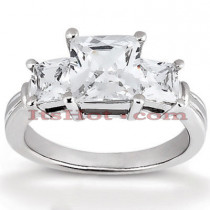 Thin Platinum Diamond Three Stones Engagement Ring 0.64ct