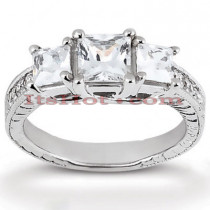 Thin Platinum Diamond Three Stones Engagement Ring 0.66ct
