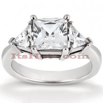 Thin Platinum Diamond Three Stones Engagement Ring 0.70ct