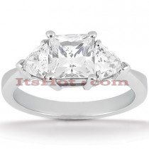 Ultra Thin Platinum Diamond Three Stones Engagement Ring 0.70ct
