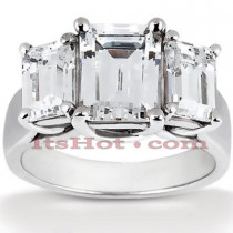 Platinum Diamond Three Stones Engagement Ring 0.75ct