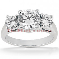 Thin Platinum Diamond Three Stones Engagement Ring 0.80ct