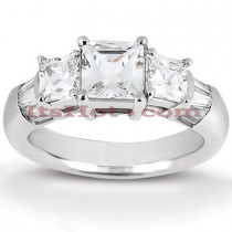 Thin Platinum Diamond Three Stones Engagement Ring 0.82ct