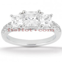 Thin Platinum Diamond Three Stones Engagement Ring 0.94ct