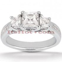 Thin Platinum Diamond Three Stones Engagement Ring 0.96ct