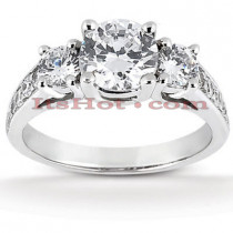 Thin Platinum Diamond Three Stones Engagement Ring 1.05ct