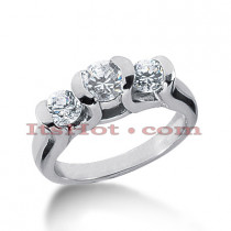 Platinum Diamond Three Stones Engagement Ring 1.10ct