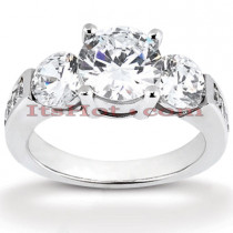 Thin Platinum Diamond Three Stones Engagement Ring 1.15ct