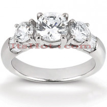 Thin Platinum Diamond Three Stones Engagement Ring 1.20ct