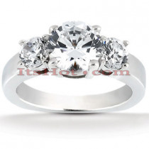 Thin Platinum Diamond Three Stones Engagement Ring 1.25ct