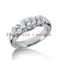 Platinum Diamond Three Stones Engagement Ring 1.30ct