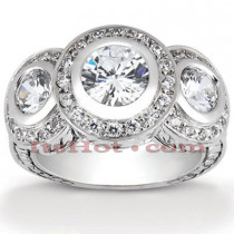 Thin Platinum Diamond Three Stones Engagement Ring 1.42ct