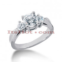 Thin Platinum Diamond Three Stones Engagement Ring 1.50ct