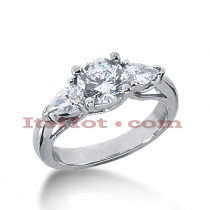 Thin Platinum Diamond Three Stones Engagement Ring 1.54ct