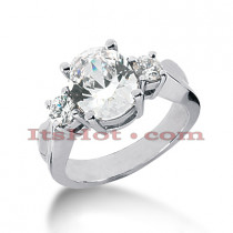 Platinum Diamond Three Stones Engagement Ring 1.75ct