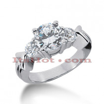 Thin Platinum Diamond Three Stones Engagement Ring 1.96ct