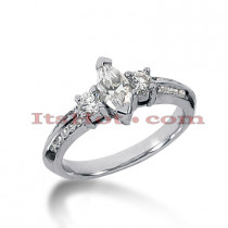 Thin Platinum Diamond Three Stones Engagement Ring 1ct
