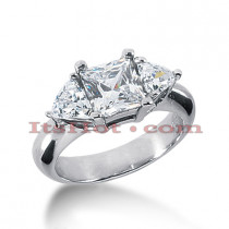 Platinum Diamond Three Stones Engagement Ring 2.20ct