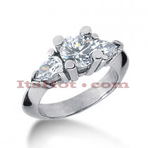 Thin Platinum Diamond Three Stones Engagement Ring 2.25ct