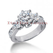 Platinum Diamond Three Stones Engagement Ring 3.04ct