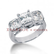 Platinum Diamond Three Stones Engagement Ring 3.50ct