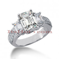 Platinum Diamond Three Stones Engagement Ring 3.94ct