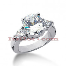 Thin Platinum Diamond Three Stones Engagement Ring 5ct