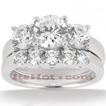 Platinum Diamond Three Stones Engagement Ring Set 0.55c