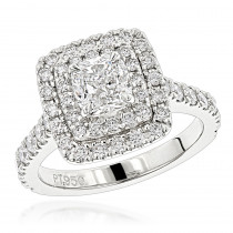 Platinum Double Halo Diamond Engagement Ring Round & Cushion Diamonds 1.9ct