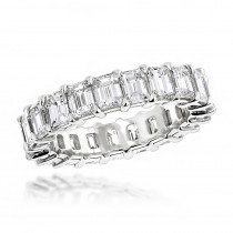 Platinum Emerald Diamond Eternity Band 6.64ct VS Diamond Anniversary Ring