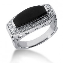 Platinum Ladies Black Onyx Ring 0.26ct