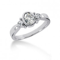 Thin Platinum Ladies Diamond Ring 0.56ct