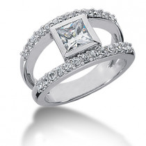Platinum Ladies Diamond Ring 0.92ct