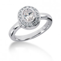 Thin Platinum Ladies Diamond Ring 0.99ct