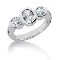 Thin Platinum Ladies Diamond Ring 1.25ct